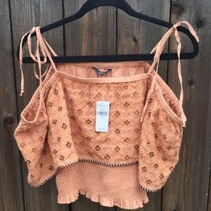 American Eagle Outfitters off shoulder BOHO top L